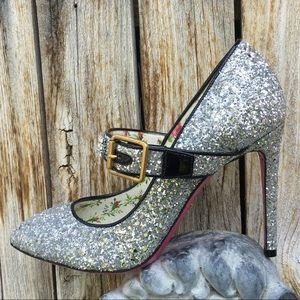NWT Gucci Sylvie Crystal Mary Jane Pump Silver 38